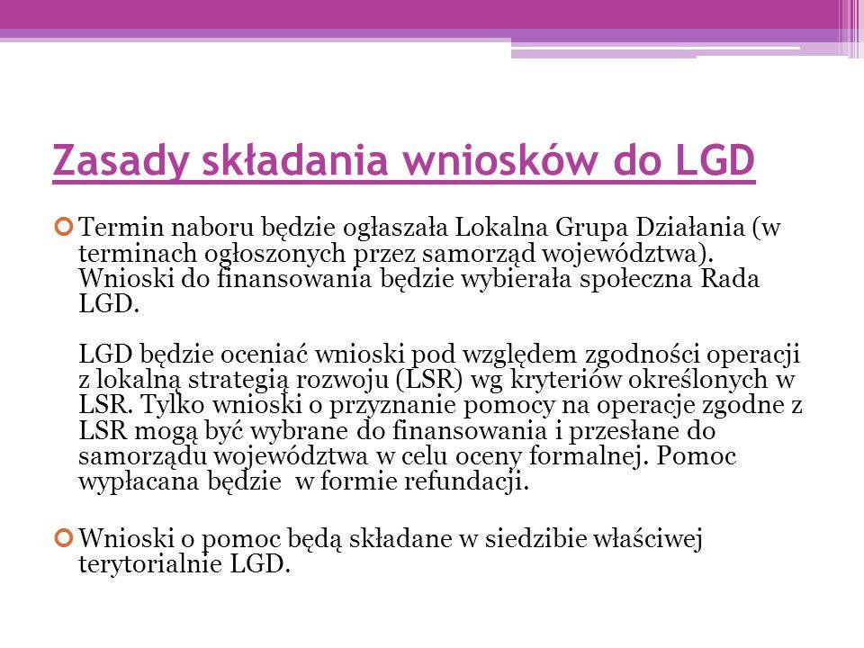Zasady składania wniosków do LGD Termin naboru będzie ogłaszała Lokalna Grupa Działania (w terminach ogłoszonych przez samorząd województwa).