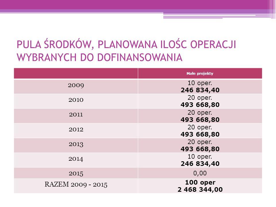 PULA ŚRODKÓW, PLANOWANA ILOŚC OPERACJI WYBRANYCH DO DOFINANSOWANIA Małe projekty 2009 10 oper.