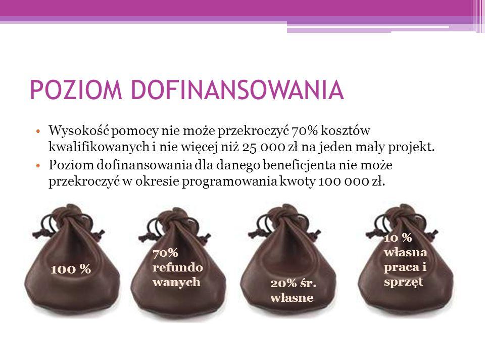 POZIOM DOFINANSOWANIA Wysokość pomocy nie może przekroczyć 70% kosztów kwalifikowanych i nie więcej niż 25 000 zł na jeden mały projekt.