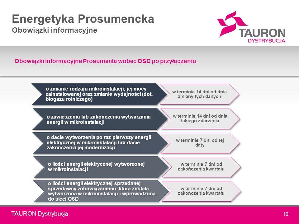 TAURON Dystrybucja 10 Energetyka Prosumencka Obowiązki informacyjne Obowiązki informacyjne Prosumenta wobec OSD po przyłączeniu