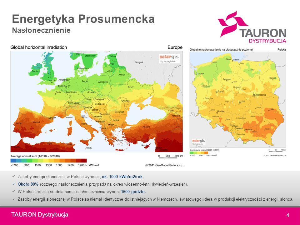 TAURON Dystrybucja 4 Energetyka Prosumencka Nasłonecznienie Zasoby energii słonecznej w Polsce wynoszą ok.
