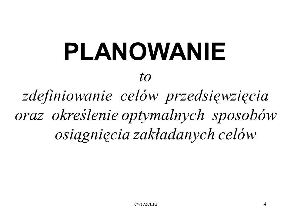 ćwiczenia4 PLANOWANIE to zdefiniowanie celów przedsięwzięcia oraz określenie optymalnych sposobów osiągnięcia zakładanych celów