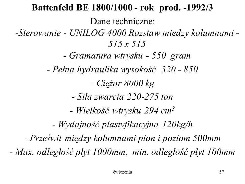 ćwiczenia57 Battenfeld BE 1800/1000 - rok prod.