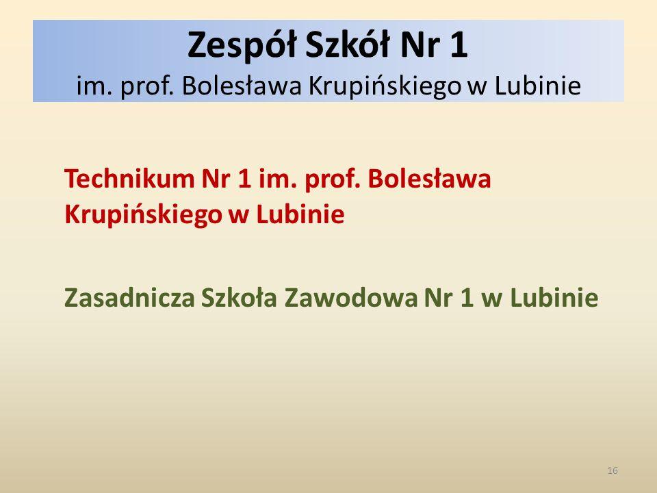 Zespół Szkół Nr 1 im. prof. Bolesława Krupińskiego w Lubinie Technikum Nr 1 im.