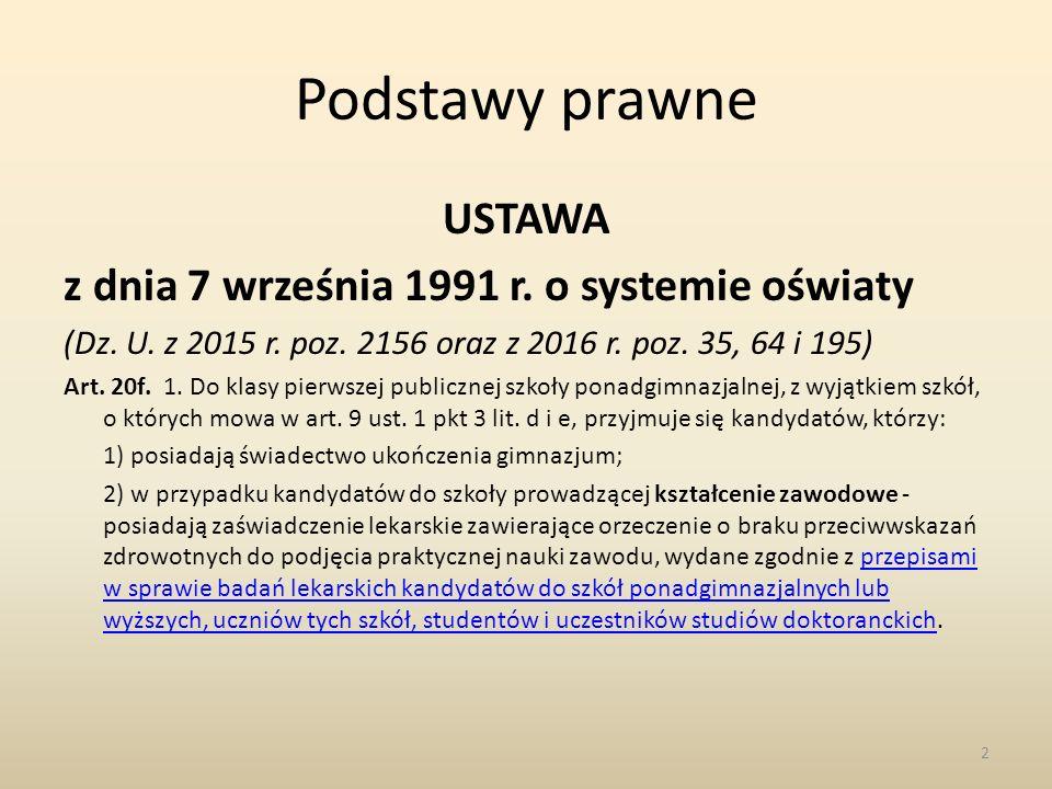 Podstawy prawne USTAWA z dnia 7 września 1991 r. o systemie oświaty (Dz.