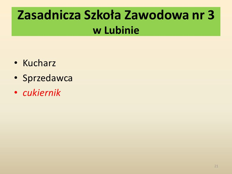 Zasadnicza Szkoła Zawodowa nr 3 w Lubinie Kucharz Sprzedawca cukiernik 21