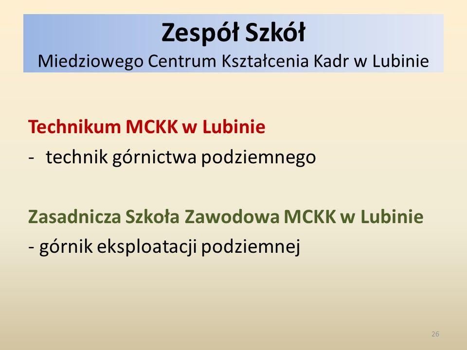 Zespół Szkół Miedziowego Centrum Kształcenia Kadr w Lubinie Technikum MCKK w Lubinie -technik górnictwa podziemnego Zasadnicza Szkoła Zawodowa MCKK w Lubinie - górnik eksploatacji podziemnej 26