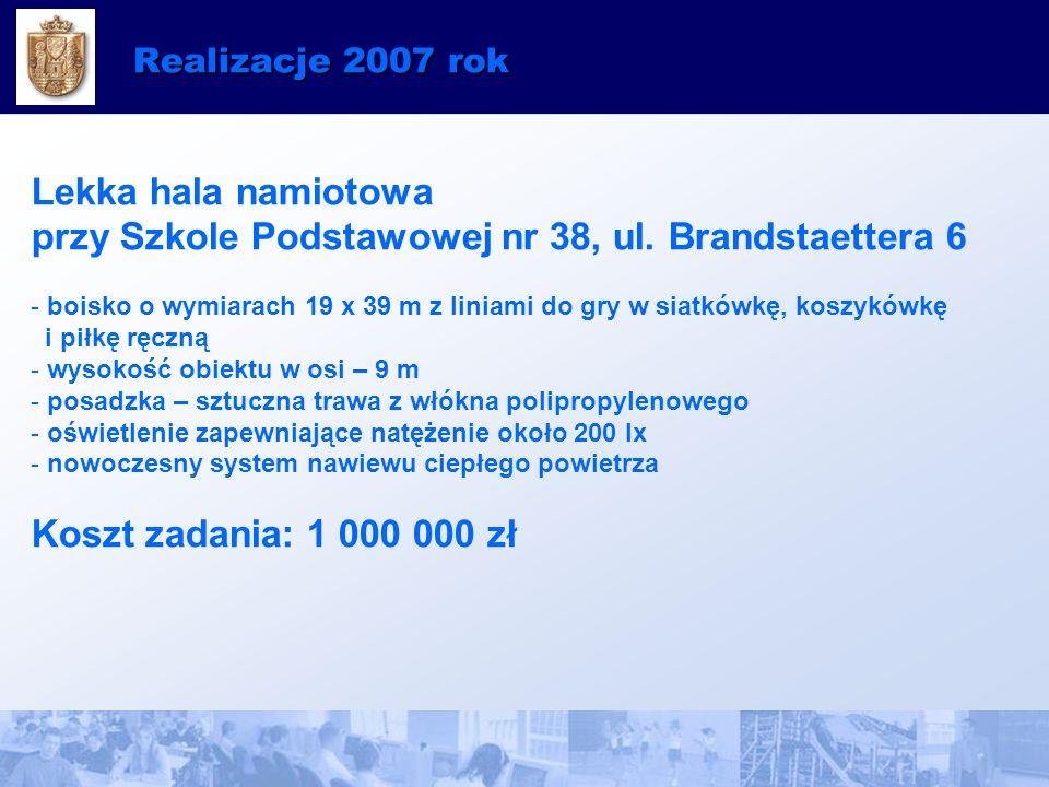 Realizacje 2007 rok Lekka hala namiotowa przy Szkole Podstawowej nr 38, ul.