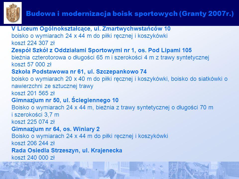 Budowa i modernizacja boisk sportowych (Granty 2007r.) V Liceum Ogólnokształcące, ul.