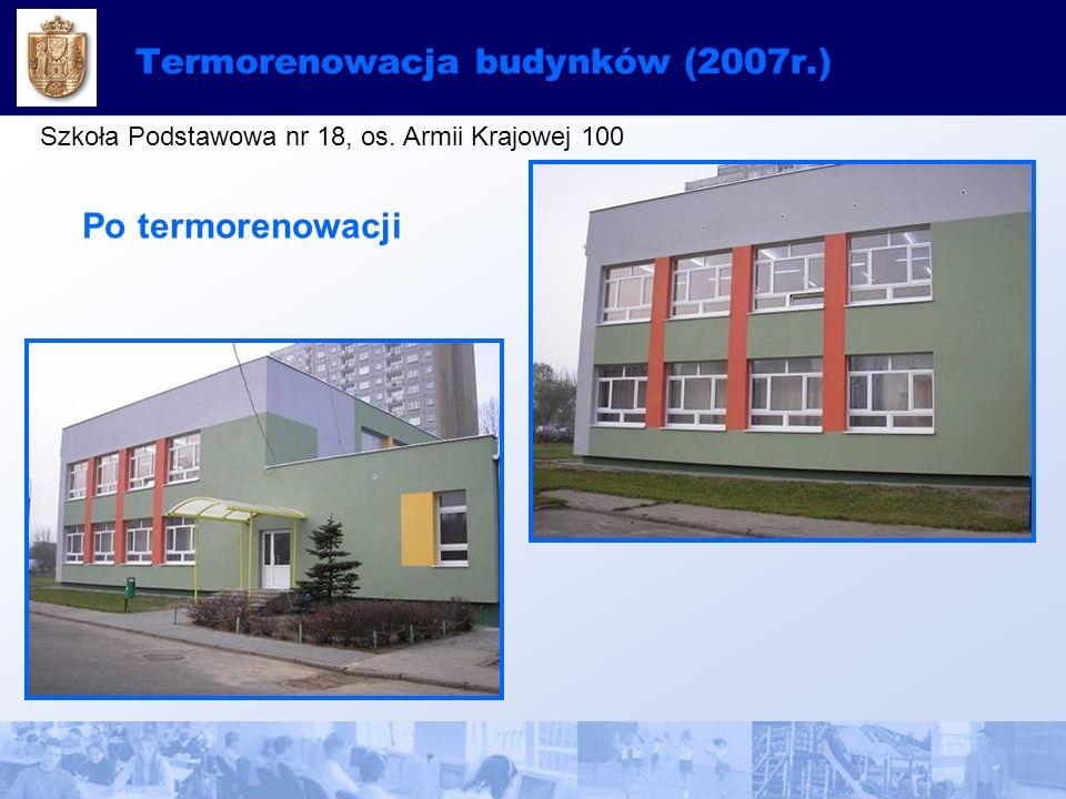 Termorenowacja budynków (2007r.) Szkoła Podstawowa nr 18, os. Armii Krajowej 100 Po termorenowacji
