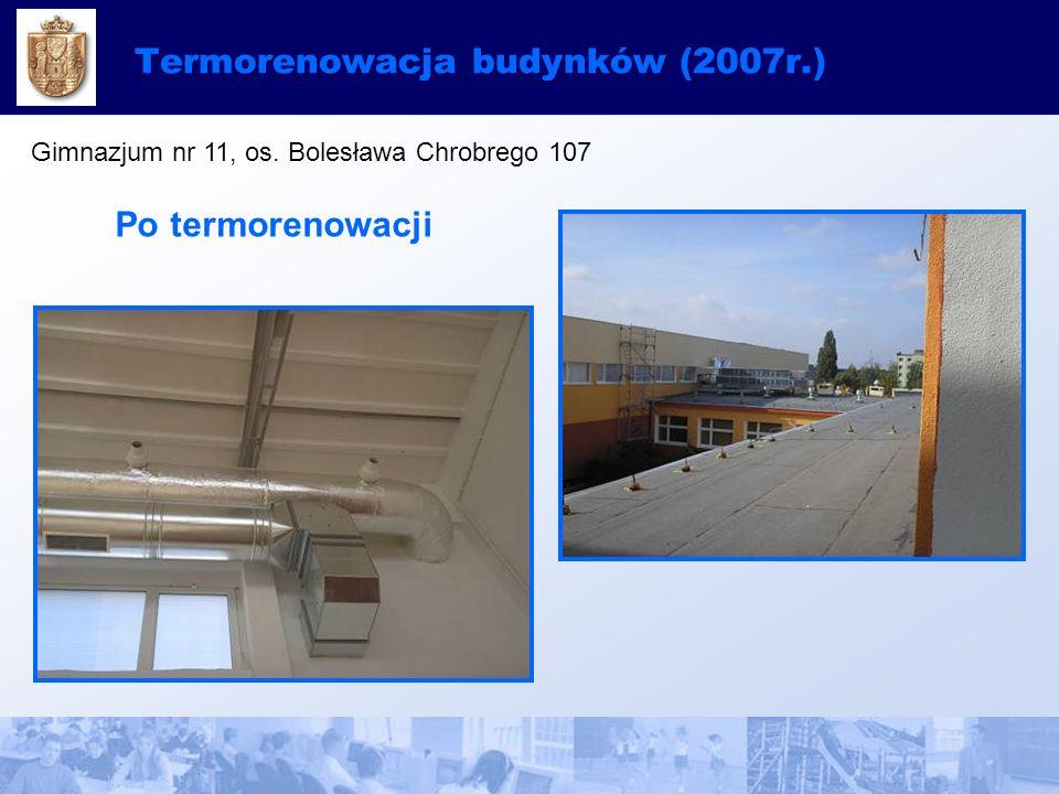 Termorenowacja budynków (2007r.) Gimnazjum nr 11, os. Bolesława Chrobrego 107 Po termorenowacji