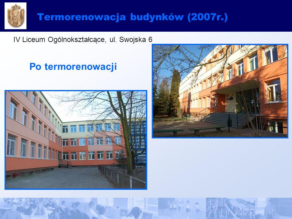 Termorenowacja budynków (2007r.) IV Liceum Ogólnokształcące, ul. Swojska 6 Po termorenowacji