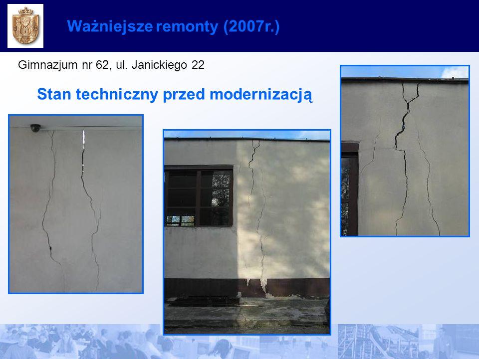 Ważniejsze remonty (2007r.) Gimnazjum nr 62, ul. Janickiego 22 Stan techniczny przed modernizacją