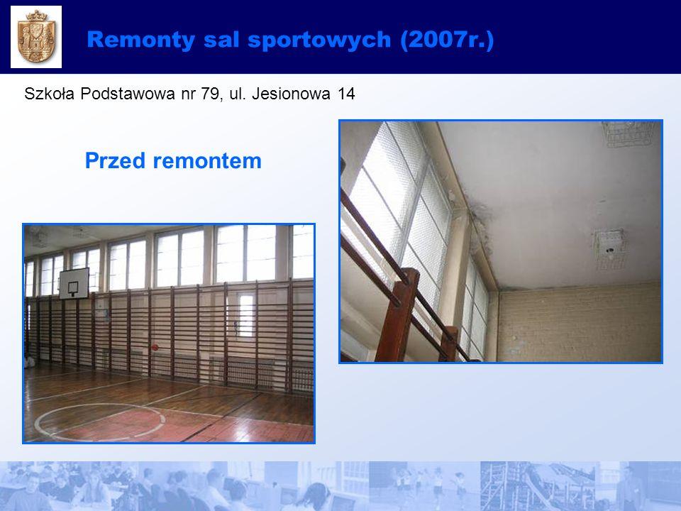 Remonty sal sportowych (2007r.) Szkoła Podstawowa nr 79, ul. Jesionowa 14 Przed remontem