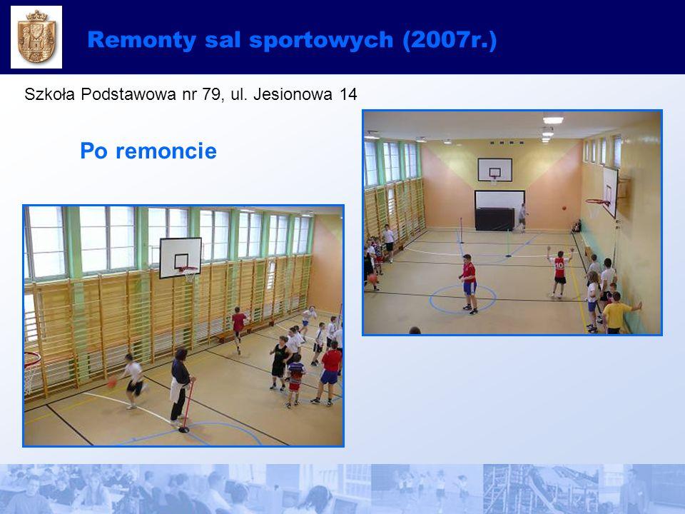 Remonty sal sportowych (2007r.) Szkoła Podstawowa nr 79, ul. Jesionowa 14 Po remoncie