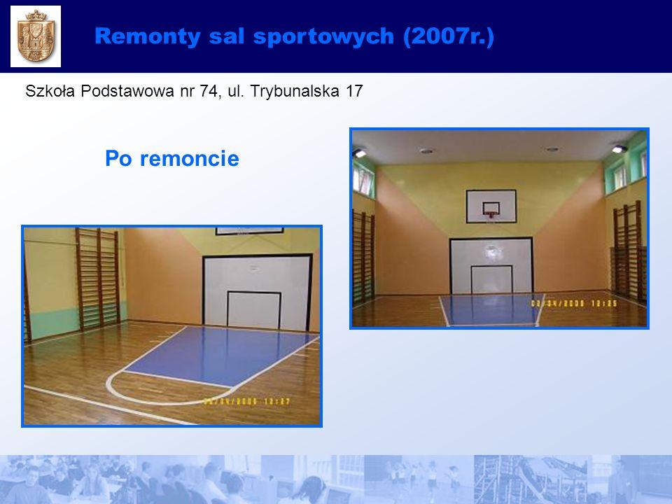 Remonty sal sportowych (2007r.) Szkoła Podstawowa nr 74, ul. Trybunalska 17 Po remoncie