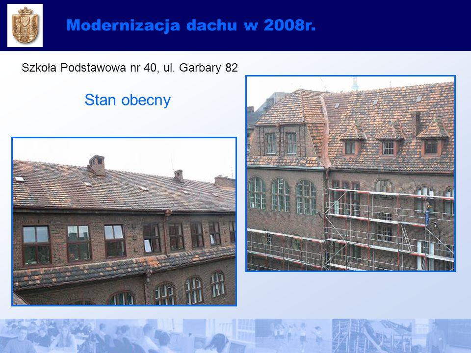 Modernizacja dachu w 2008r. Szkoła Podstawowa nr 40, ul. Garbary 82 Stan obecny