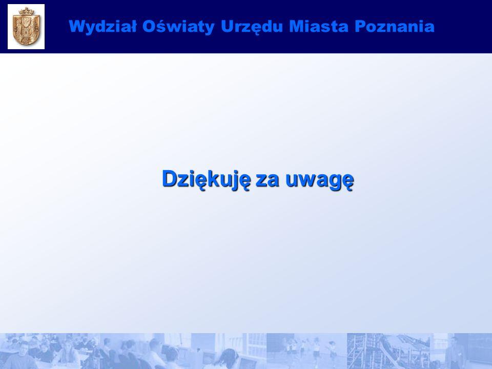 Dziękuję za uwagę Dziękuję za uwagę Wydział Oświaty Urzędu Miasta Poznania