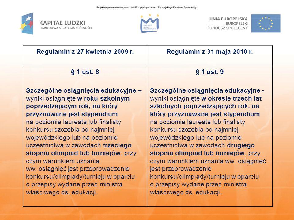 Regulamin z 27 kwietnia 2009 r.Regulamin z 31 maja 2010 r.