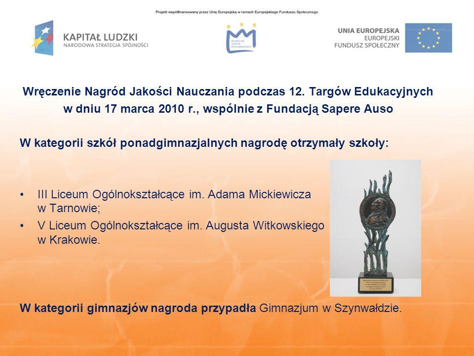 Wręczenie Nagród Jakości Nauczania podczas 12.