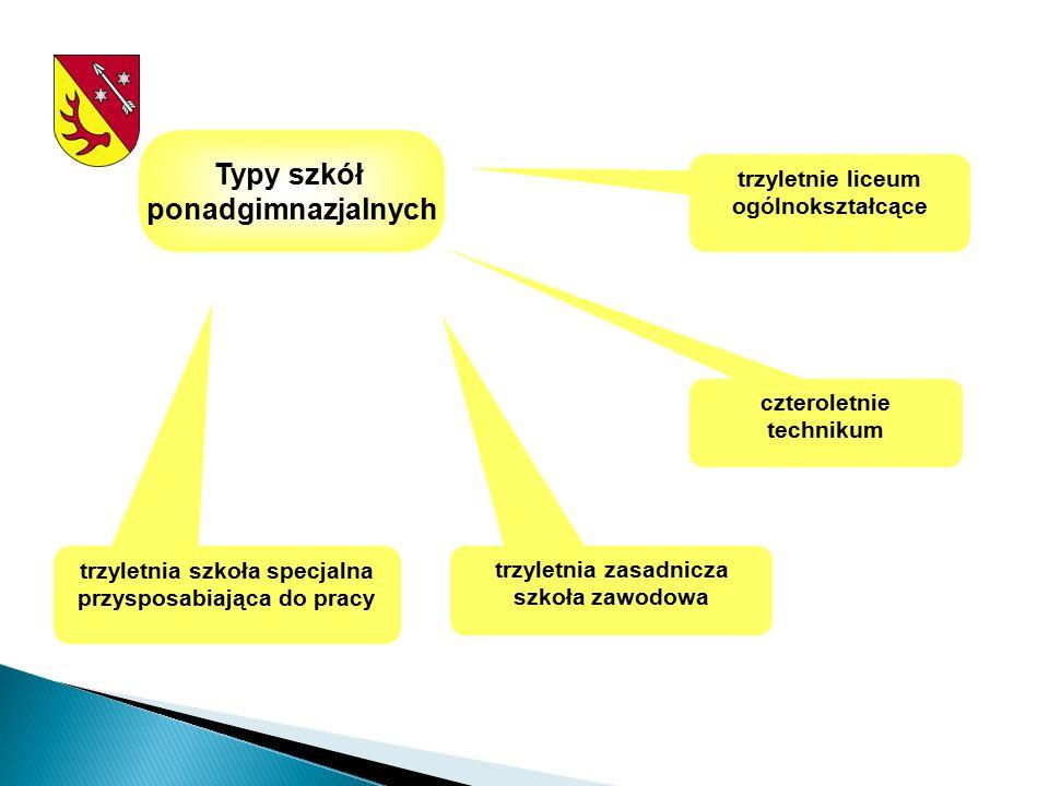 Typy szkół ponadgimnazjalnych trzyletnie liceum ogólnokształcące trzyletnia szkoła specjalna przysposabiająca do pracy trzyletnia zasadnicza szkoła zawodowa czteroletnie technikum
