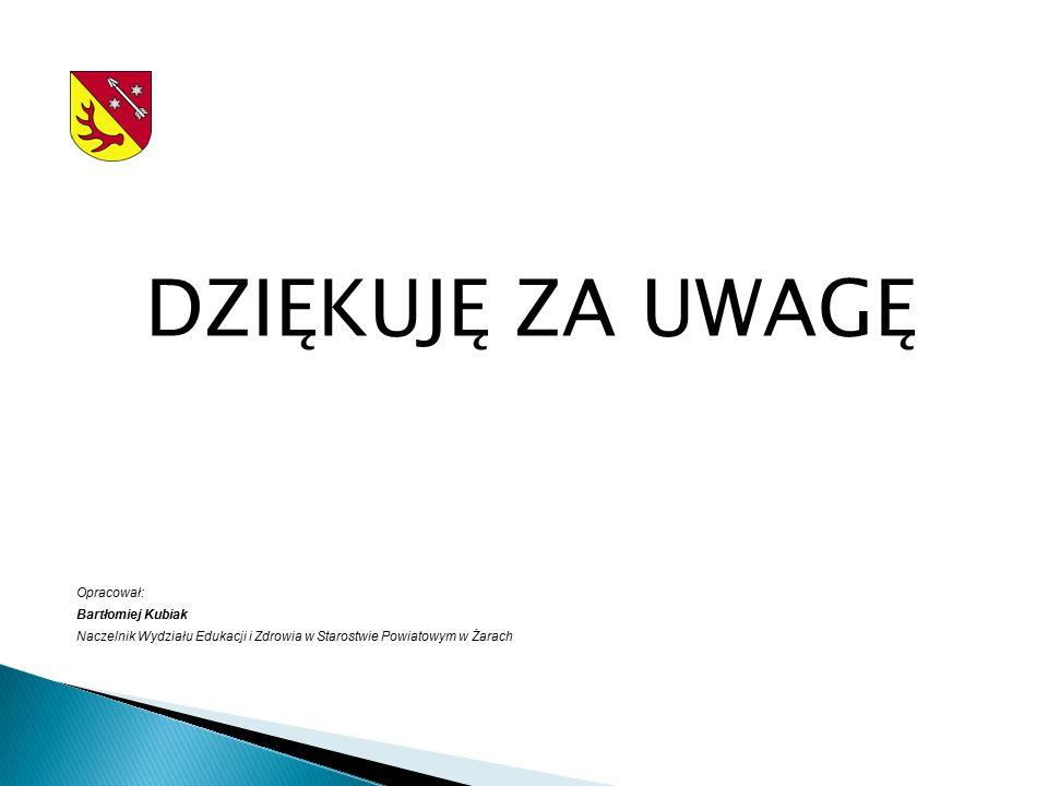 DZIĘKUJĘ ZA UWAGĘ Opracował: Bartłomiej Kubiak Naczelnik Wydziału Edukacji i Zdrowia w Starostwie Powiatowym w Żarach