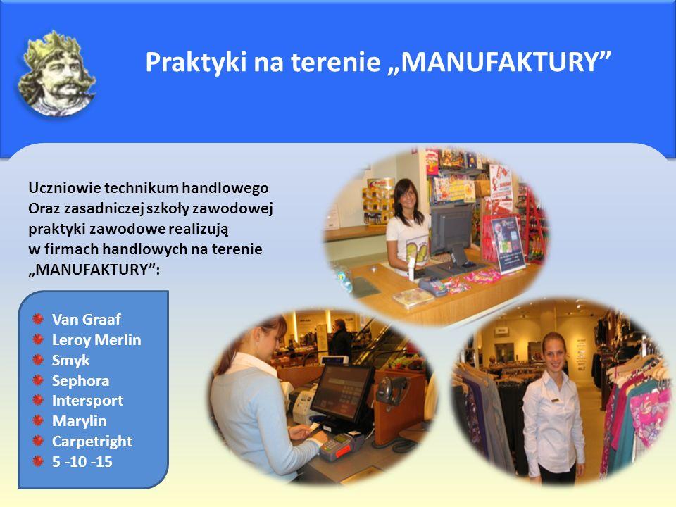"""Praktyki na terenie """"MANUFAKTURY"""" Uczniowie technikum handlowego Oraz zasadniczej szkoły zawodowej praktyki zawodowe realizują w firmach handlowych na"""