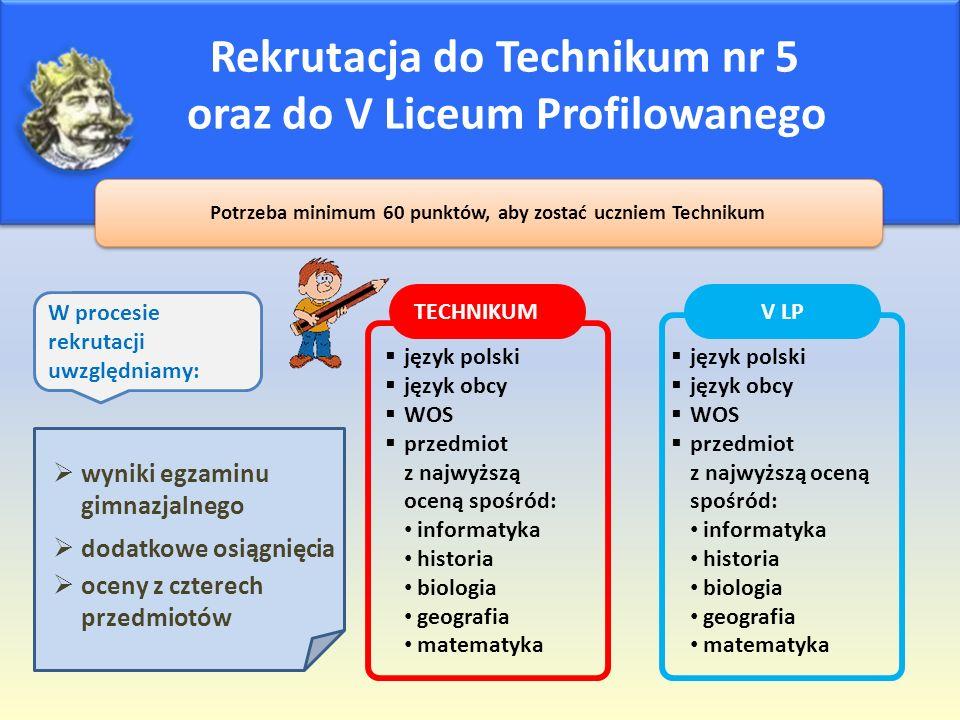 Rekrutacja do Technikum nr 5 oraz do V Liceum Profilowanego Potrzeba minimum 60 punktów, aby zostać uczniem Technikum  język polski  język obcy  WO