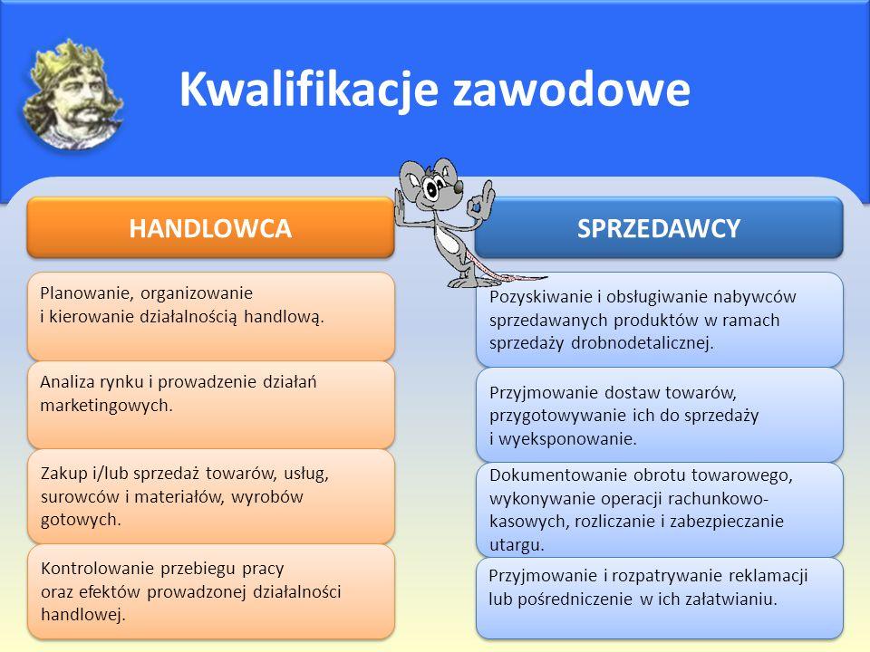 Kwalifikacje zawodowe HANDLOWCA Planowanie, organizowanie i kierowanie działalnością handlową. Analiza rynku i prowadzenie działań marketingowych. Zak