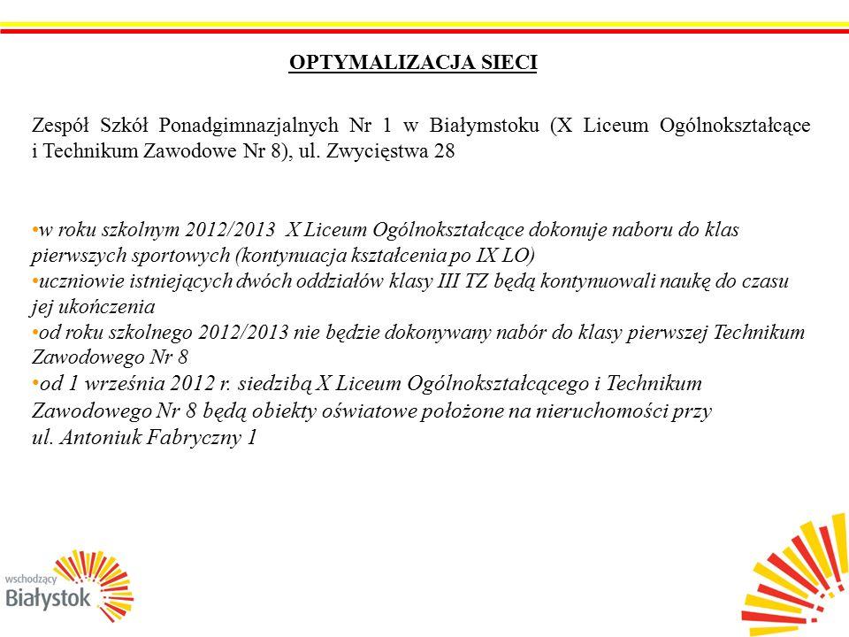 7 OPTYMALIZACJA SIECI Zespół Szkół Ponadgimnazjalnych Nr 1 w Białymstoku (X Liceum Ogólnokształcące i Technikum Zawodowe Nr 8), ul.