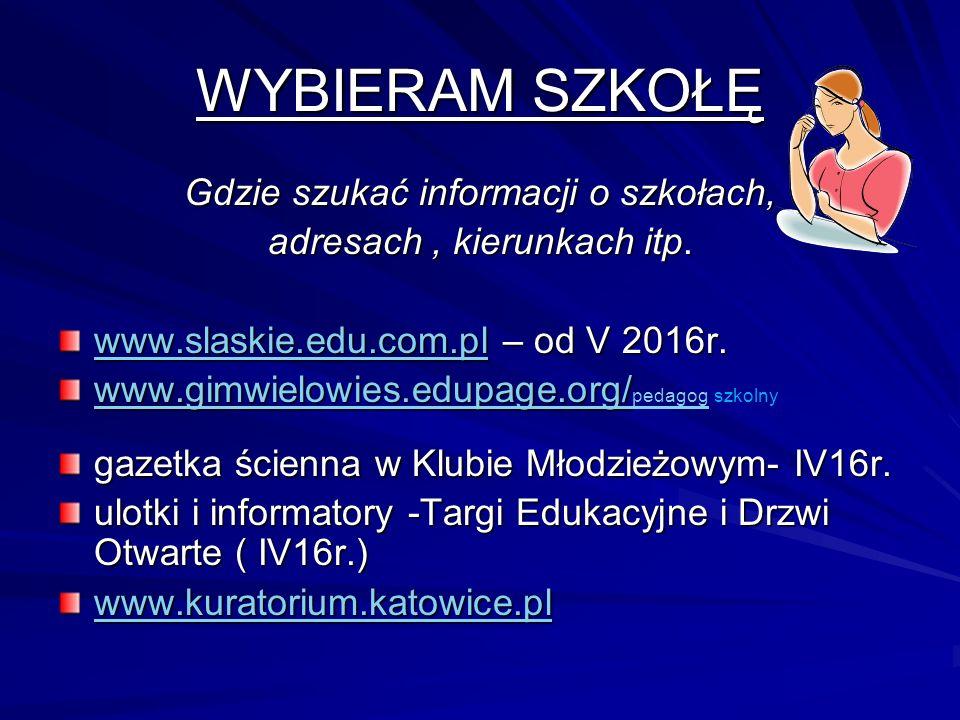 WYBIERAM SZKOŁĘ Gdzie szukać informacji o szkołach, adresach, kierunkach itp.