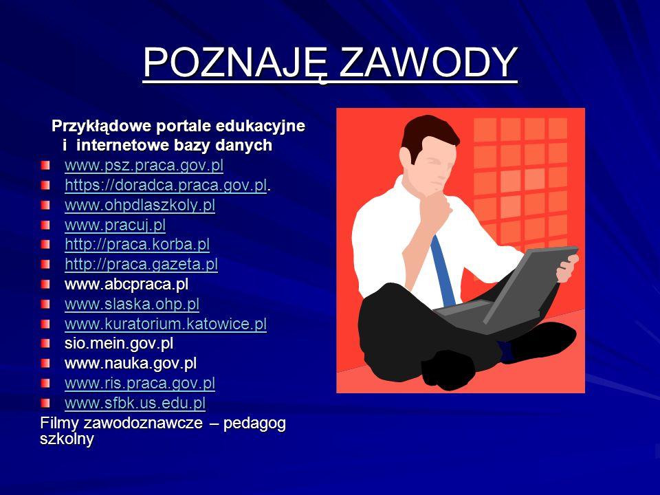 POZNAJĘ ZAWODY Przykłądowe portale edukacyjne i internetowe bazy danych i internetowe bazy danych www.psz.praca.gov.pl https://doradca.praca.gov.plhttps://doradca.praca.gov.pl.