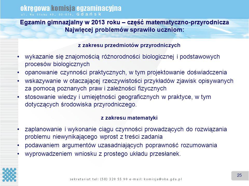 25 Egzamin gimnazjalny w 2013 roku – część matematyczno-przyrodnicza Egzamin gimnazjalny w 2013 roku – część matematyczno-przyrodnicza Najwięcej problemów sprawiło uczniom: z zakresu przedmiotów przyrodniczych wykazanie się znajomością różnorodności biologicznej i podstawowych procesów biologicznych opanowanie czynności praktycznych, w tym projektowanie doświadczenia wskazywanie w otaczającej rzeczywistości przykładów zjawisk opisywanych za pomocą poznanych praw i zależności fizycznych stosowanie wiedzy i umiejętności geograficznych w praktyce, w tym dotyczących środowiska przyrodniczego.