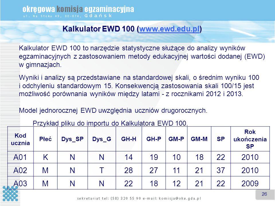 26 Kalkulator EWD 100 (www.ewd.edu.pl) www.ewd.edu.pl Kalkulator EWD 100 to narzędzie statystyczne służące do analizy wyników egzaminacyjnych z zastosowaniem metody edukacyjnej wartości dodanej (EWD) w gimnazjach.