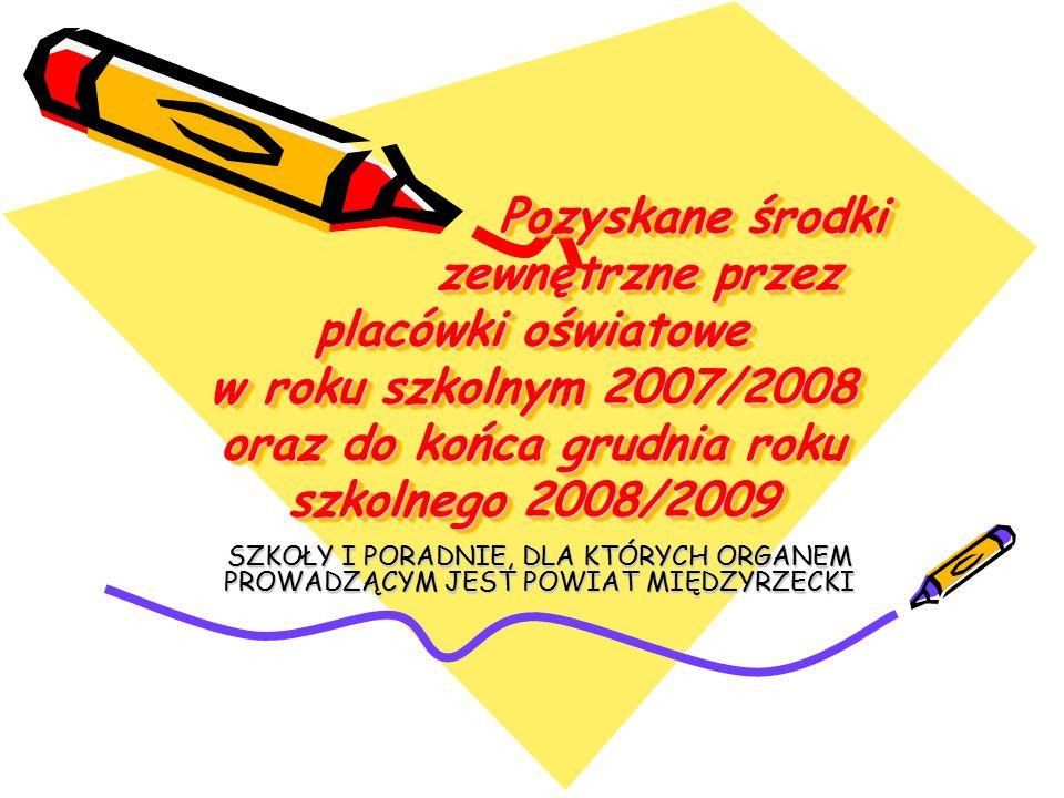Pozyskane środki zewnętrzne przez placówki oświatowe w roku szkolnym 2007/2008 oraz do końca grudnia roku szkolnego 2008/2009 SZKOŁY I PORADNIE, DLA K