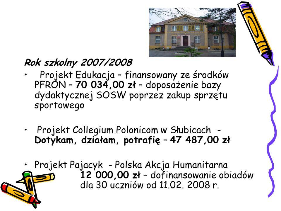 Rok szkolny 2007/2008 Projekt Edukacja – finansowany ze środków PFRON – 70 034,00 zł – doposażenie bazy dydaktycznej SOSW poprzez zakup sprzętu sportowego Projekt Collegium Polonicom w Słubicach - Dotykam, działam, potrafię – 47 487,00 zł Projekt Pajacyk - Polska Akcja Humanitarna 12 000,00 zł – dofinansowanie obiadów dla 30 uczniów od 11.02.