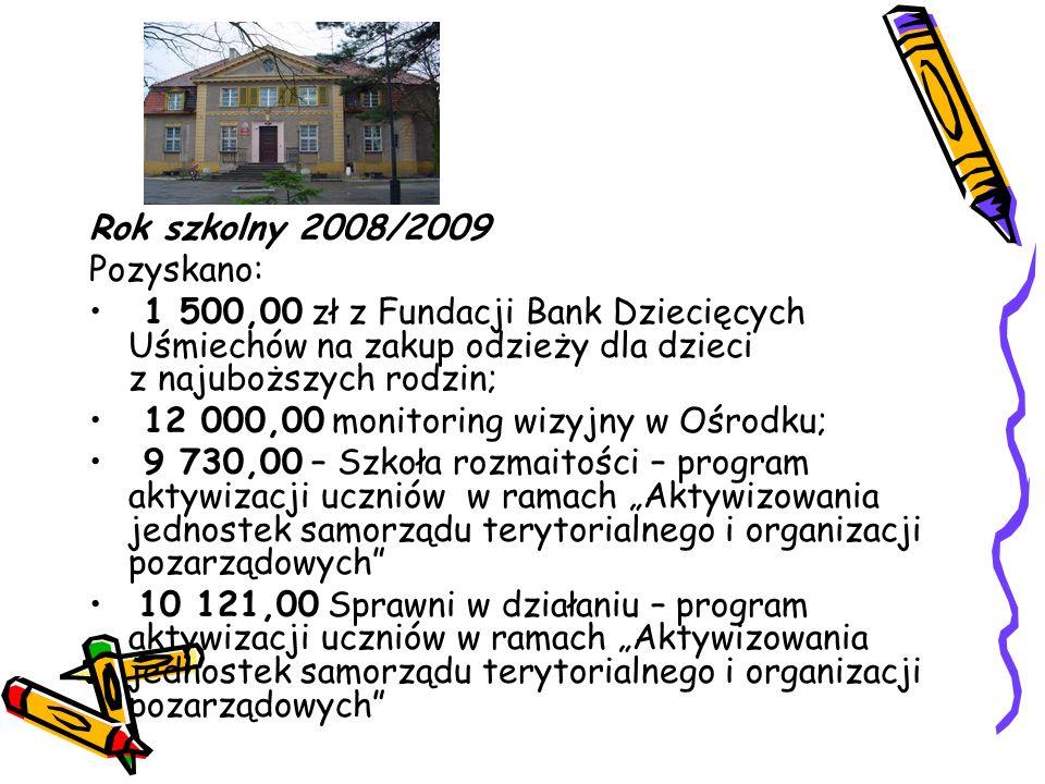Rok szkolny 2008/2009 Pozyskano: 1 500,00 zł z Fundacji Bank Dziecięcych Uśmiechów na zakup odzieży dla dzieci z najuboższych rodzin; 12 000,00 monito
