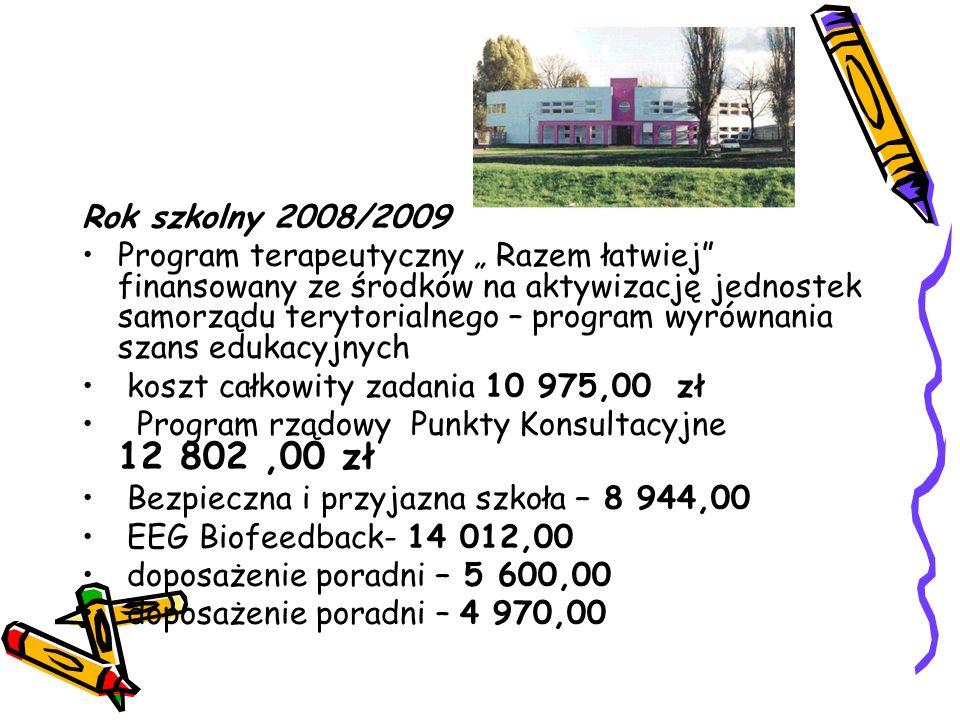 """Rok szkolny 2008/2009 Program terapeutyczny """" Razem łatwiej"""" finansowany ze środków na aktywizację jednostek samorządu terytorialnego – program wyrówn"""