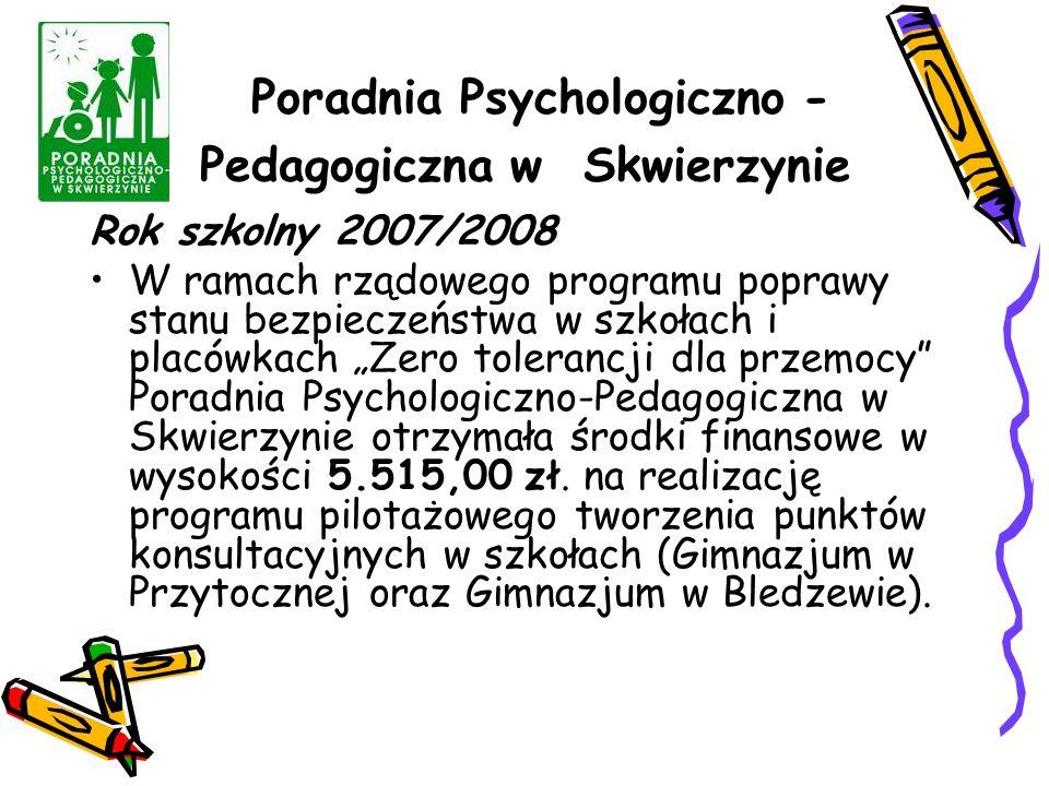 """Poradnia Psychologiczno - Pedagogiczna w Skwierzynie Rok szkolny 2007/2008 W ramach rządowego programu poprawy stanu bezpieczeństwa w szkołach i placówkach """"Zero tolerancji dla przemocy Poradnia Psychologiczno-Pedagogiczna w Skwierzynie otrzymała środki finansowe w wysokości 5.515,00 zł."""