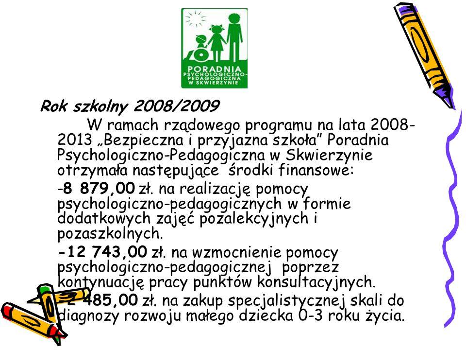 """Rok szkolny 2008/2009 W ramach rządowego programu na lata 2008- 2013 """"Bezpieczna i przyjazna szkoła Poradnia Psychologiczno-Pedagogiczna w Skwierzynie otrzymała następujące środki finansowe: -8 879,00 zł."""