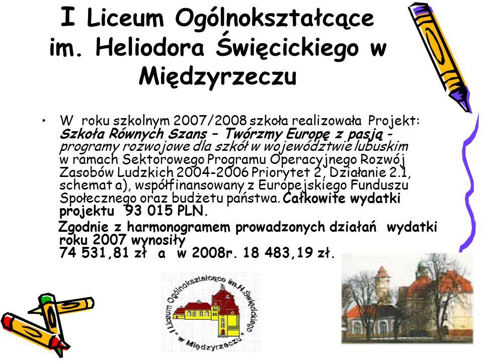 I Liceum Ogólnokształcące im. Heliodora Święcickiego w Międzyrzeczu W roku szkolnym 2007/2008 szkoła realizowała Projekt: Szkoła Równych Szans – Twórz