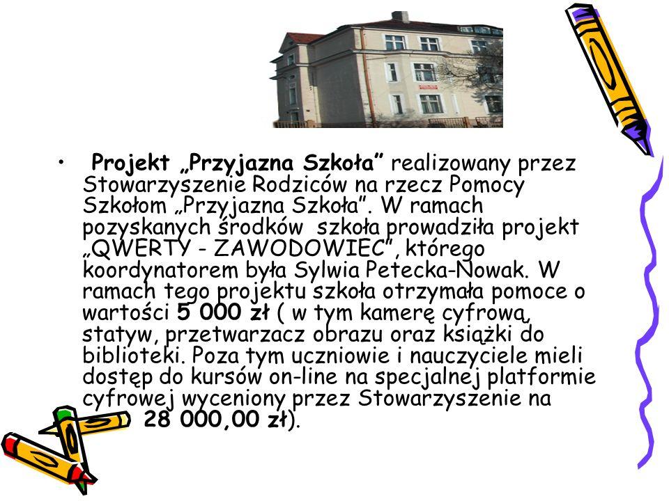 """Projekt """"Przyjazna Szkoła"""" realizowany przez Stowarzyszenie Rodziców na rzecz Pomocy Szkołom """"Przyjazna Szkoła"""". W ramach pozyskanych środków szkoła p"""