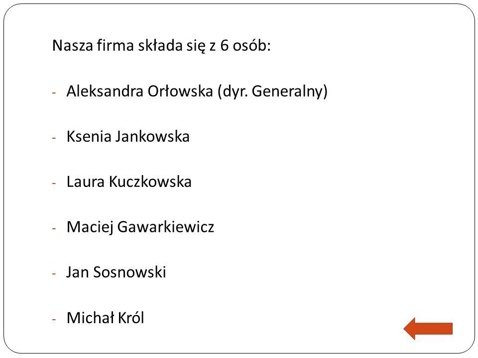 Nasza firma składa się z 6 osób: - Aleksandra Orłowska (dyr.