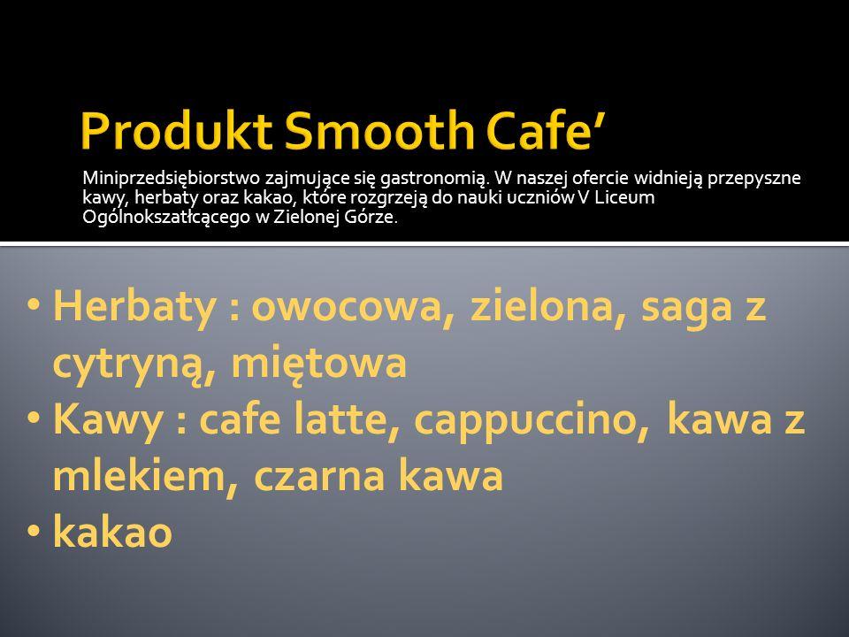Miniprzedsiębiorstwo zajmujące się gastronomią. W naszej ofercie widnieją przepyszne kawy, herbaty oraz kakao, które rozgrzeją do nauki uczniów V Lice