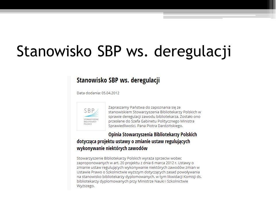 Stanowisko SBP ws. deregulacji