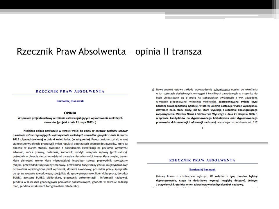 Rzecznik Praw Absolwenta – opinia II transza