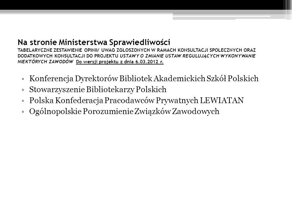 Na stronie Ministerstwa Sprawiedliwości TABELARYCZNE ZESTAWIENIE OPINII/ UWAG ZGŁOSZONYCH W RAMACH KONSULTACJI SPOŁECZNYCH ORAZ DODATKOWYCH KONSULTACJI DO PROJEKTU USTAWY O ZMIANIE USTAW REGULUJĄCYCH WYKONYWANIE NIEKTÓRYCH ZAWODÓW Do wersji projektu z dnia 6.03.2012 r.