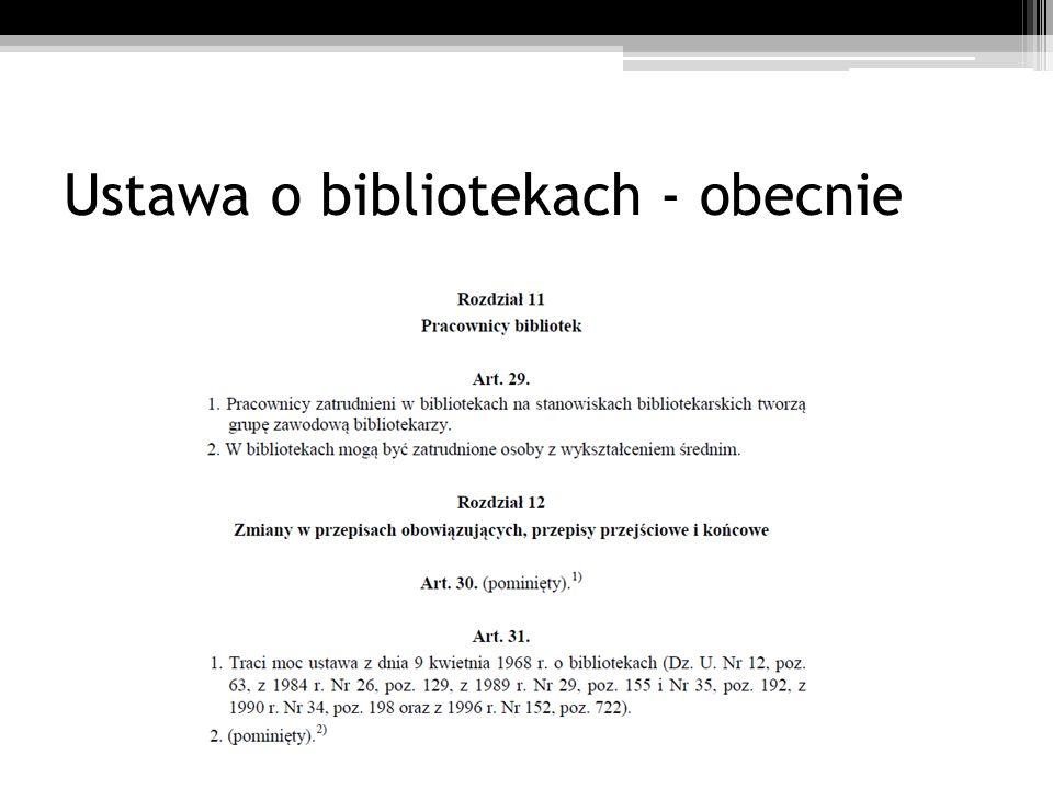 Ustawa o bibliotekach - obecnie