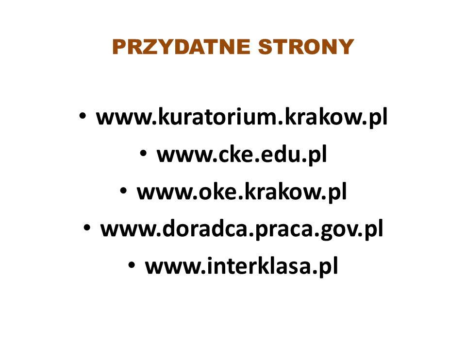 PRZYDATNE STRONY www.kuratorium.krakow.pl www.cke.edu.pl www.oke.krakow.pl www.doradca.praca.gov.pl www.interklasa.pl