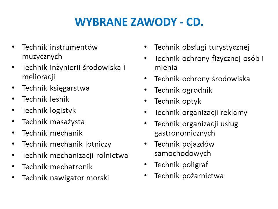 WYBRANE ZAWODY - CD. Technik instrumentów muzycznych Technik inżynierii środowiska i melioracji Technik księgarstwa Technik leśnik Technik logistyk Te